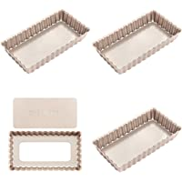 CHEFMADE Mini Rectangle Tart Pan Set, 4-Inch 4Pcs with Removable Loose Bottom Non-Stick Oblong Quiche Bakeware, FDA Approved for Oven and Instant Pot Baking (Champagne Gold)