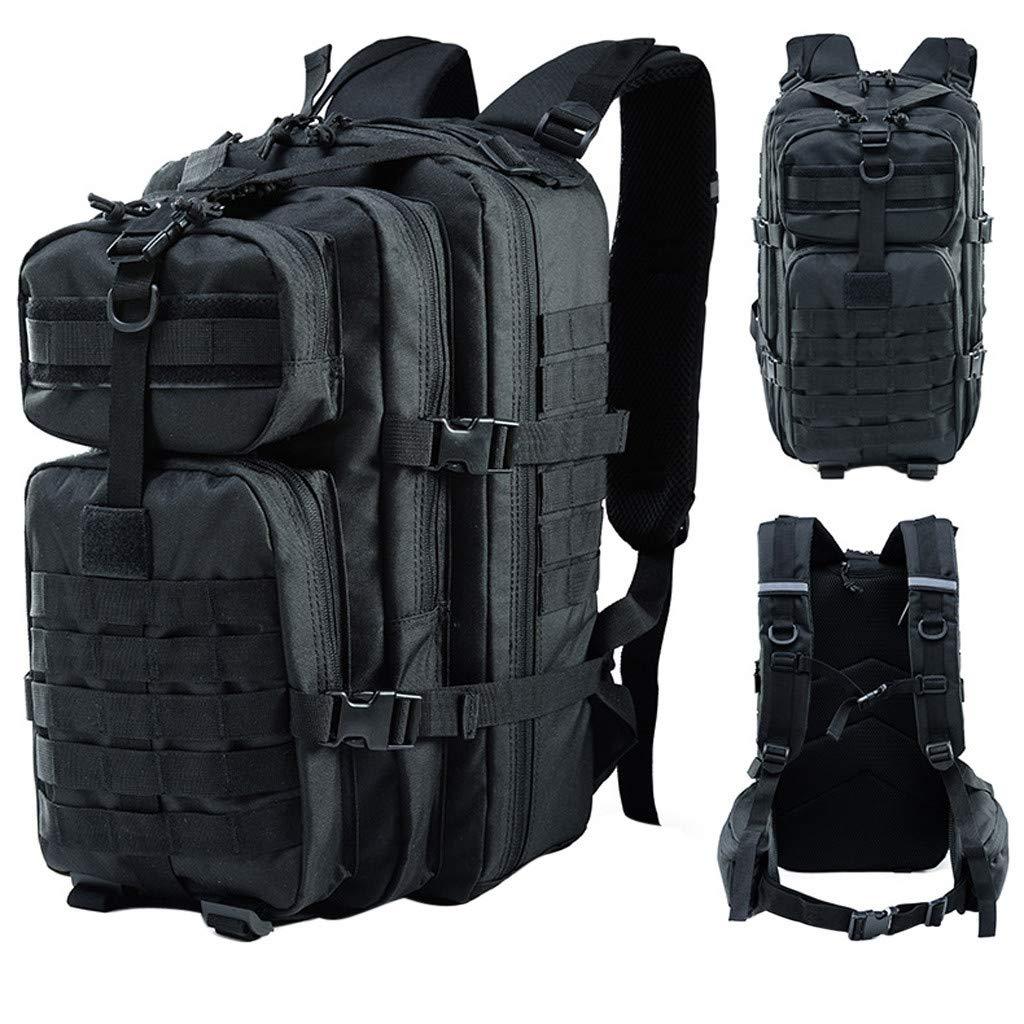 Military Tactical Backpack - 45L Outdoor Multifunction Waterproof Backpack, Adjustable Shoulder Portable Trekking Backpack, for Camping, Hiking (♥ Black)