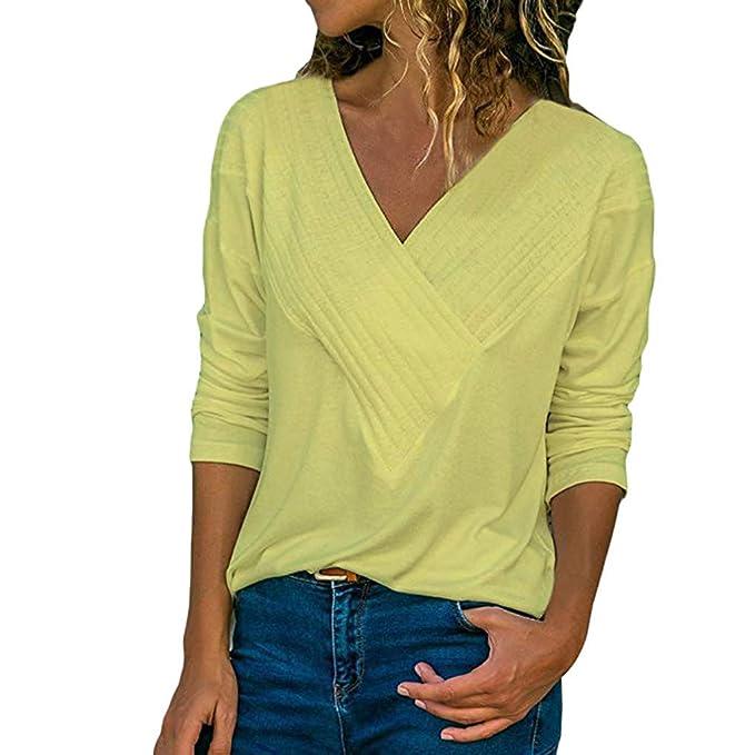 78f7702dab Camisetas Manga Larga para Mujer Primavera Verano 2019 PAOLIAN Camisetas  Talla Grande Fiesta Sexy Blusas Elegante Cuello V Ancho Basicas Top  Estampado Rayas ...