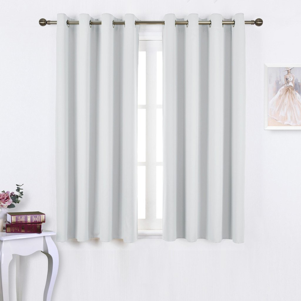 Nicetown Greyish White Blackout Curtain Panels - Window Treatment Thermal Insulated Grommet Room Darkening
