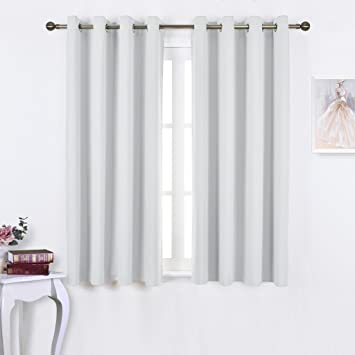Amazon.com: NICETOWN Greyish White Room Darkening Curtain Panels ...
