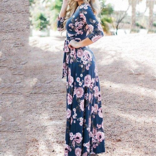 A Vestito Blu Estate Stampato Maxi Donna Manica Cerimonia Lhwy Elegante Abito nOFg10wP