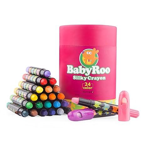 Jar Melo Bebé Roo Sedoso Crayones; Lápices de Color; 24 Colores Giratorios Lavables No