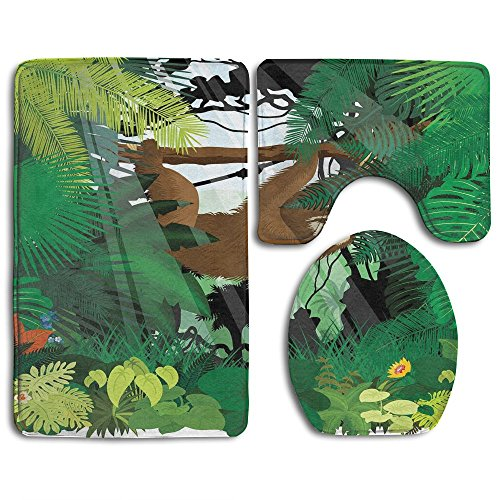 Guiping Vibrant Exotic Rainforest With Various Plants And Sloth Hanging On A Tree Wildlife Bathroom Rug Mats Set 3 Piece,Funny Bathroom Rugs Graphic Bathroom Sets,Anti-skid Toilet Mat Set