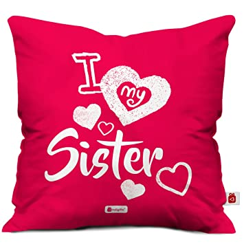 Amazon Com Indigifts Sister Gifts I Love My Sister Pink 16 X16