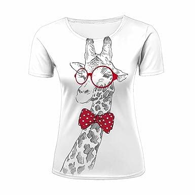 imágenes oficiales sin impuesto de venta ofertas exclusivas Camiseta de Manga Corta para Mujer, diseño de Jirafa 3D ...