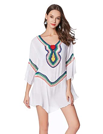 4e42686181 Charming House Women Crochet Beach Cover Up, Sexy V Neck Tassel Beach  Dresses for Swimwear(One Size, White 03) at Amazon Women's Clothing store:
