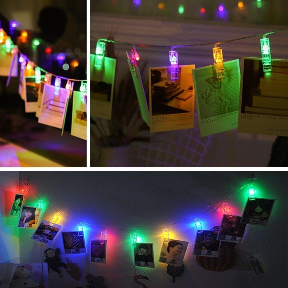 Classe /énerg/étique A++ ELINKUME 1X 20LEDs Multicolor Clips Photo Guirlandes 2,2M//7,2Pieds Int/érieur D/écoration /Éclairage Puissance de la Batterie RGB Jolies Lumi/ères D/écorations de F/êtes