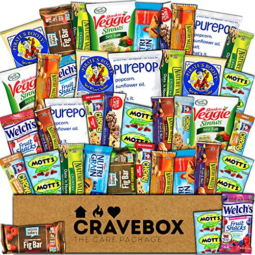 CraveBox Healthy Care Package (40 Count) Natural Bars Nuts Fruit Health and Nutritious Snacks Variety Gift Box Pack Assortment Basket Bundle Mix Sampler College Finals Students Office Trips Summer (Best Men's Subscription Boxes 2019)