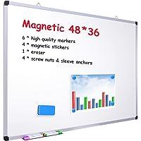 Ohuhu 48 x 36 Inch Dry Erase Board, Magnetic Large Whiteboard, White Board with 6 Color Dry Erase Markers, 1 x Eraser, 4…