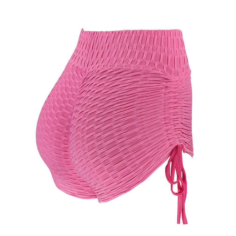 Meet Nice Women's Sport Fitness Gym Stretchy High Waisted Ruched Butt Lifting Workout Running Yoga Shorts (S, Pink)