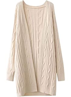 51b38c2e25 Doballa Women s Open Front Long Sleeve Cable Knit Twisted Cardigan Long  Sweater Coat