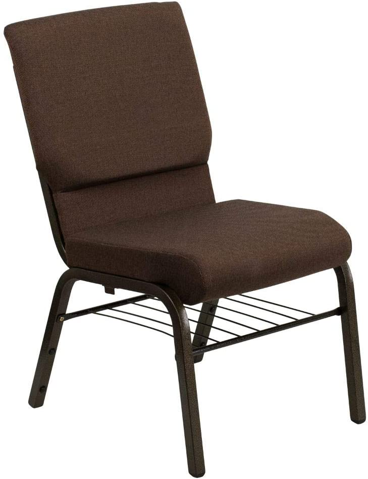 Flash Furniture HERCULES Series 18.5''W Church Chair in Brown Fabric with Book Rack - Gold Vein Frame