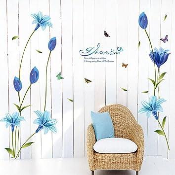 Saingace Wandaufkleber Wandtattoo Wandsticker,Schöne Blaue Lilien Aufkleber  Dekorative Kreative Entfernbare Wand