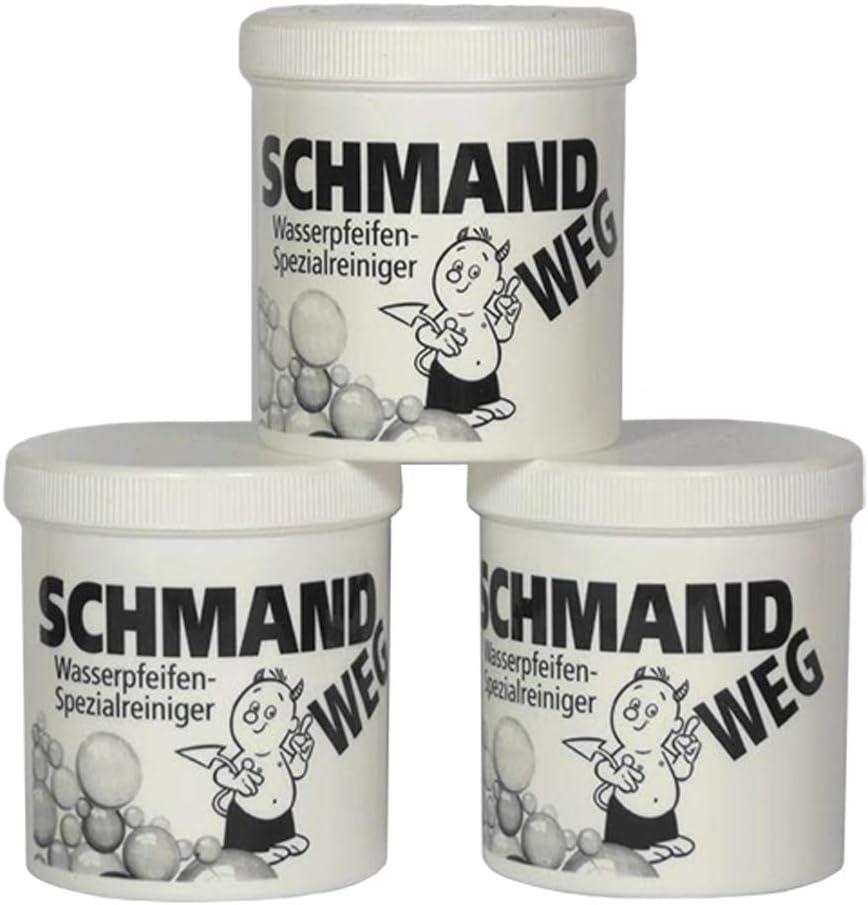 Schmand WEG - Limpiador de Cristales (3 Botes, 150 g Cada uno, Limpieza Especial de cachimbas, 450 g)