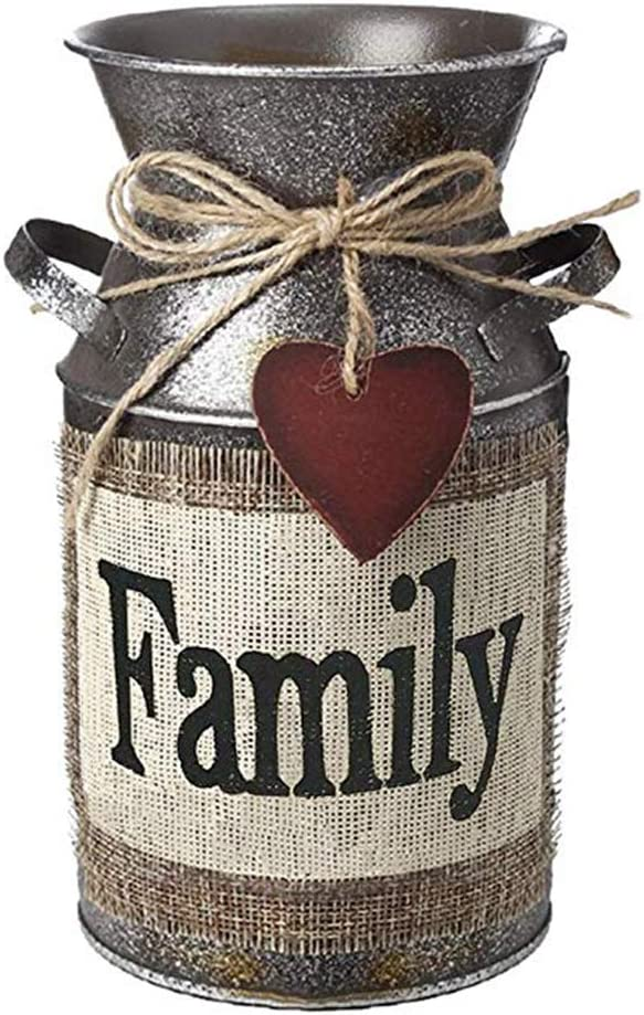 VOSAREA Rustic Decorative Vase with Greetings and Rope Design Metal Milk Can Country Jug for Living Room, Bedroom, Kitchen (Family)