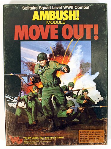 Ambush! Module: Move Out! (Solitaire Squad Level WWII Combat, Boxed Game) Game Box Solitaire