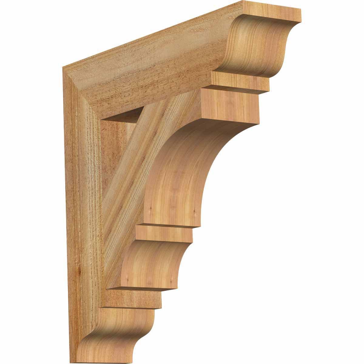 Ekena Millwork BKT04X18X18BOA01RWR Balboa Traditional Rough Bracket, 4'' Width x 18'' Depth x 18'' Height, Western Red Cedar