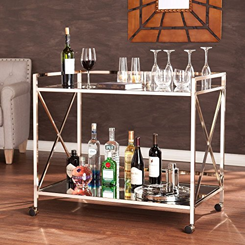 Maxton Bar Cart in Metallic Gold Finish by Southern Enterprises