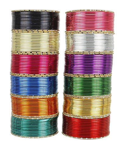 MUCH-MORE Fabulous Indian Fashion Metal Plain Bangle Partywear Wedding Ethnic Traditional Jewelry (48, 2.8)