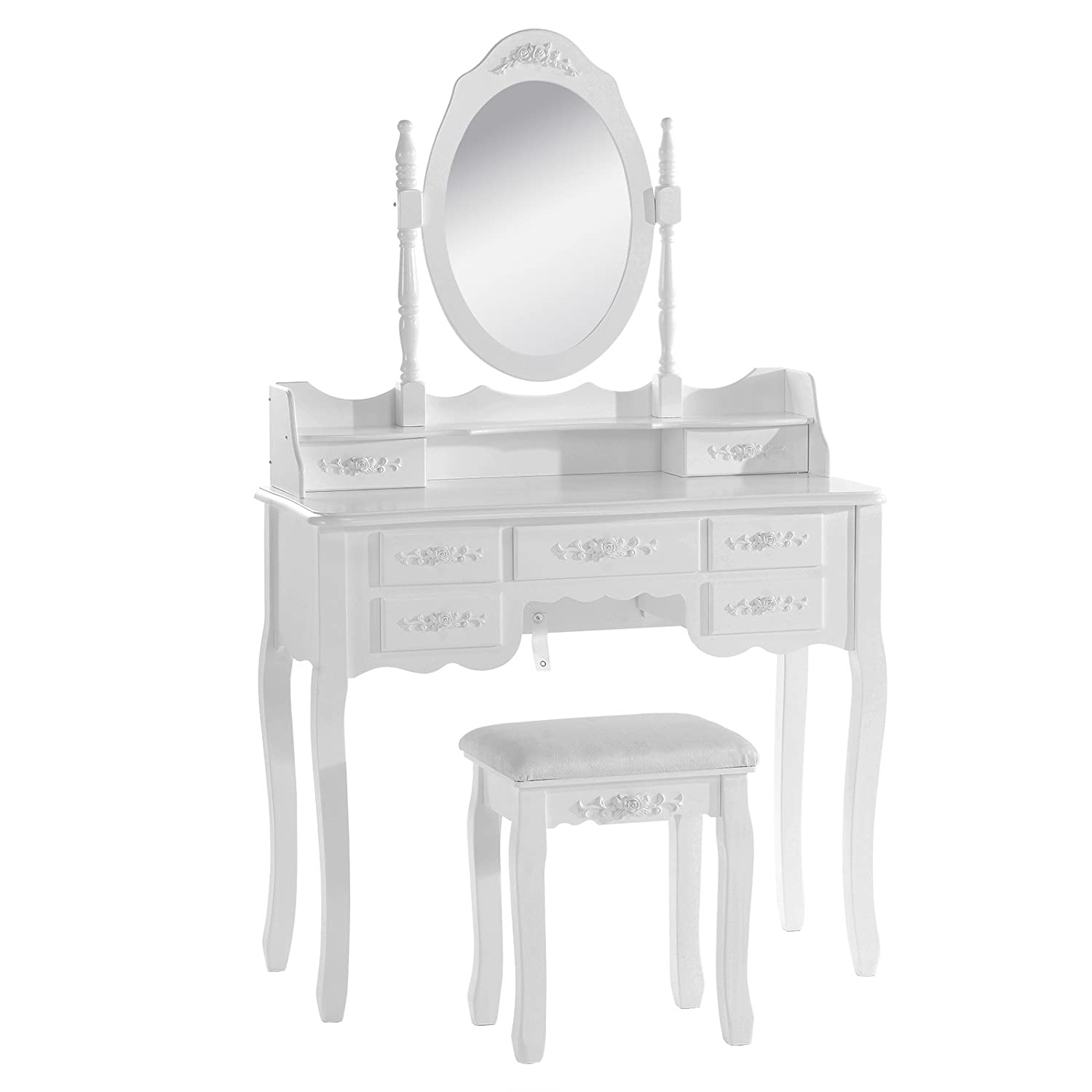 WOLTU White Dressing Table with Stool and Adjustable Mirror, 7 Drawers White Makeup Desk for Home Bedroom 90 x 40 x 144.5cm(L x W x H) MB6026cm