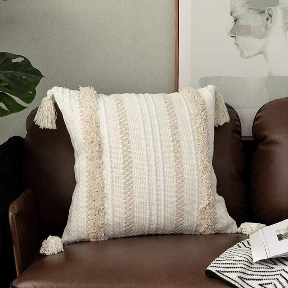 Tiffasea Decorative Throw Pillow Cover, 18x18 Inch Accent Neutral Pillow Cases Boho Tufted Pillow Sham with Tassels Mud Cloth Cushion Cover Square Home Decor for Farmhouse Bedroom Living Room