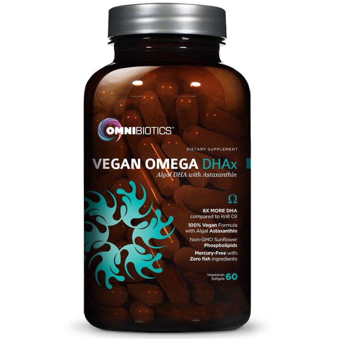 Vegan DHA | MD-Certified Prenatal DHA | 8X MORE DHA than Krill Oil! Fish-Free Omega Essential Fatty Acids - Algal Omega-3, Omega-6, DHA | 60 vegetarian softgels
