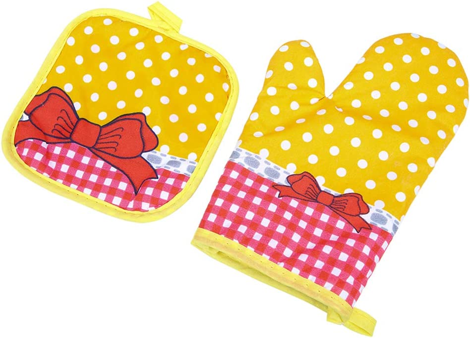 Ryncoco Pot Holders and Oven Mitts, Unique Design, Heat Resistant, Made of 100% Cotton, Eco-Friendly & Safe, Set of 1 Oven Mitt and 1 Pot Holder, Pot Holders and Oven Mitts