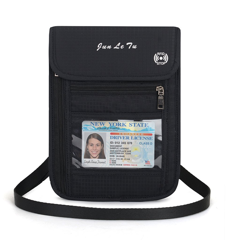 EA-Stone Neck Wallet with RFID Blocking Passport Holder - Concealed Waterproof Travel Pouch Passport Case for Man & Woman(Black)