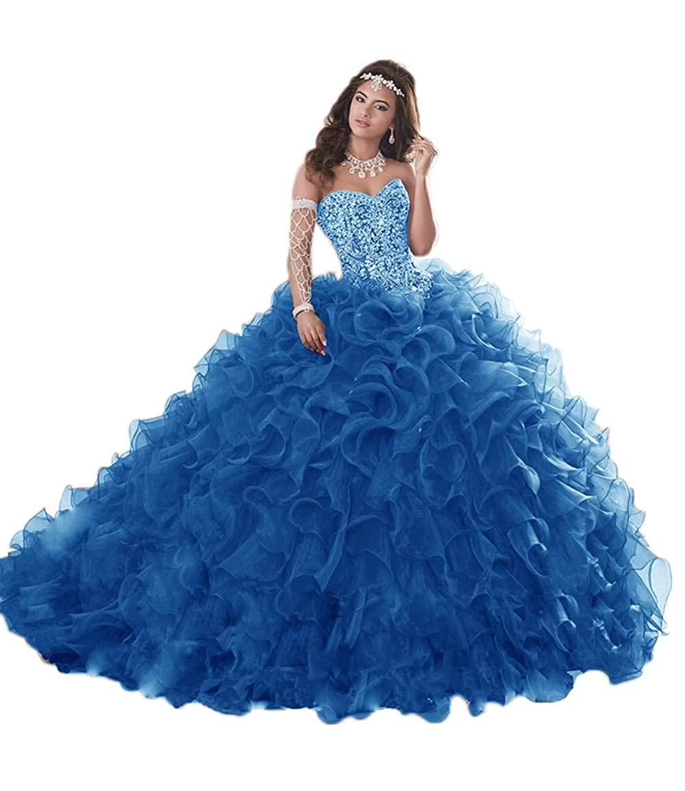 bluee Jerald Norton Ltd Gorgeous Heavy Beaded Organza Quinceanera Dress for Sweet 16 Princess Ball Gowns bluee