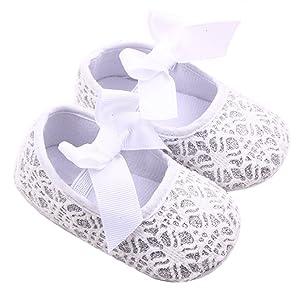 Sagton Toddler Girl Soft Sole Crib Shoes Anti-slip Sneaker Baby Shoes (US:2.5, White)