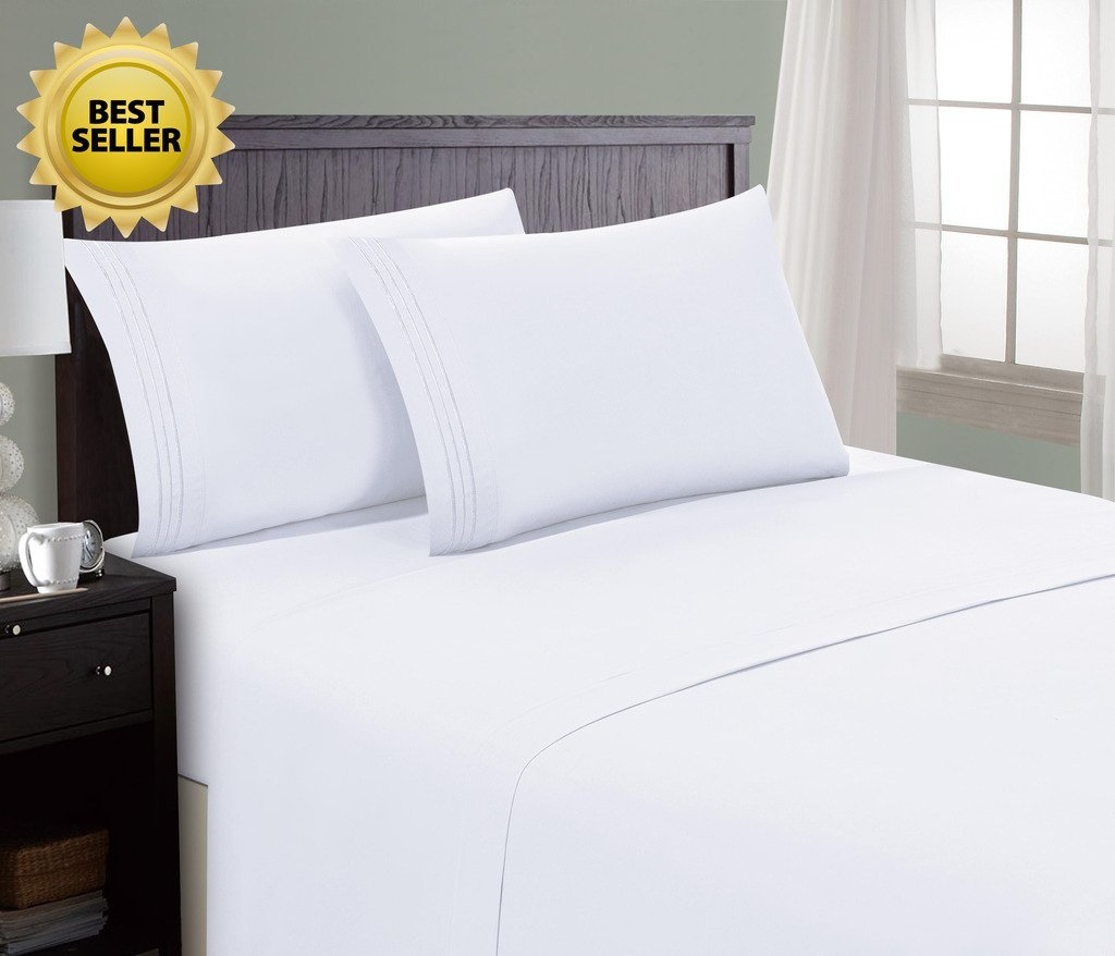 HC Collection Bed Sheet & Pillowcase Set HOTEL LUXURY 1800 Series Egyptian Quality Bedding Collection! Deep Pocket, Wrinkle & Fade Resistant,Luxurious,Comfortable,Extremely Durable(King, White)