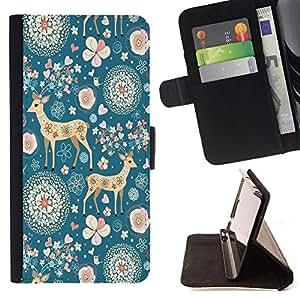 Super Marley Shop - Funda de piel cubierta de la carpeta Foilo con cierre magn¨¦tico FOR Apple iPhone 4 4S 4G- Deer Cute