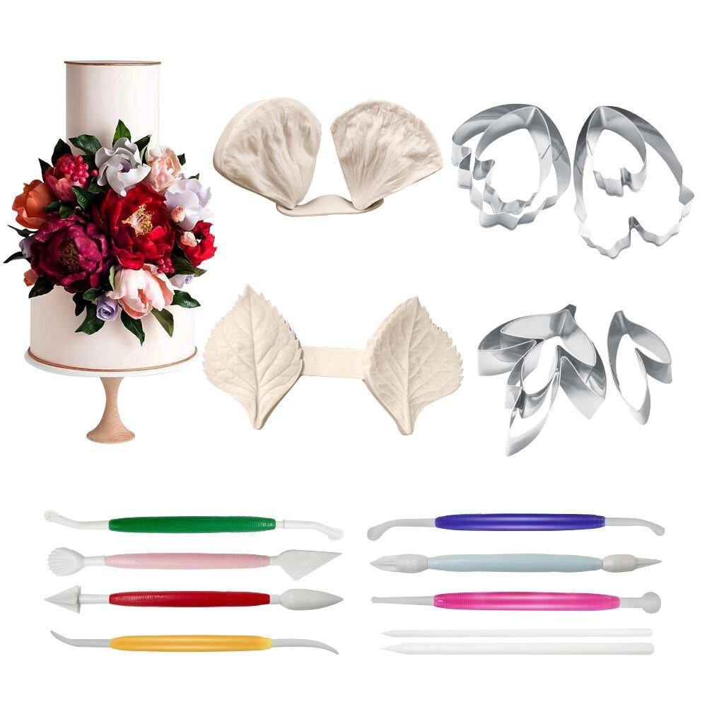 Amazon 18pcs Gumpaste Peony Flower And Leaf Fondant Tools Kit