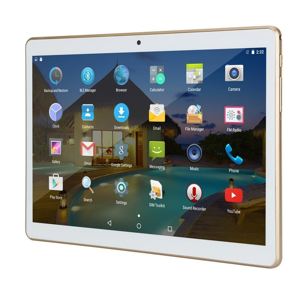 10 inch Tablet Android 10.1'' IPS Octa Core 4GB RAM 64GB ROM YELLYOUTH Unlocked Tablet PC with Sim Card Slot Camera GPS WiFi OTG Bluetooth 10'' - White