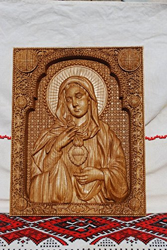 Immaculate Heart of Mary Wood Carved Religious Virgin Mary Icon Christian Gifts Wedding Anniversary gifts housewarming gifts Wall Hanging Art Work