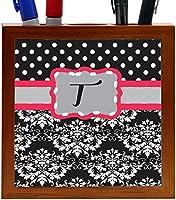"Rikki Knight Rikki Knight Initial ""T"" Grey Pink Black Damask Dots Design 5-Inch Tile Wooden Tile Pen Holder (RK-PH44532)"