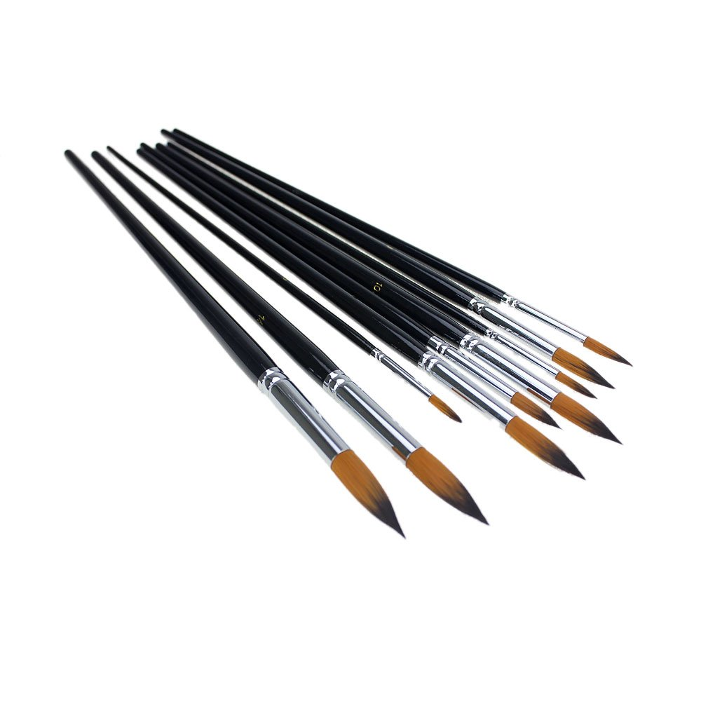 APG 9pcs Round Pointed Tip Nylon Hair Artists Watercolor Paint Brush Set Acrylic Oil Painting Brush