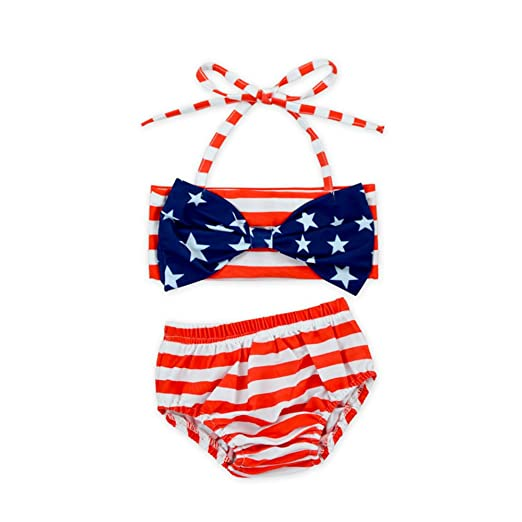 dc14ca1753 Anbaby American Flag Adorable Summer Baby Little Girl Two Pieces Swimsuit  (1-2T)