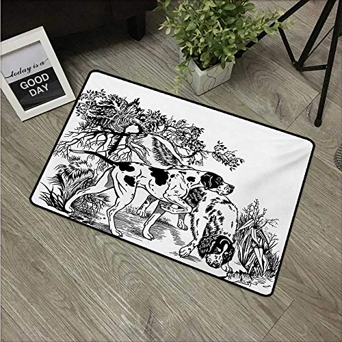 Hunting,Machine Washable Carpet Hunting Dogs in The Forest Monochrome Drawing English Pointer and Setter Breeds W 24