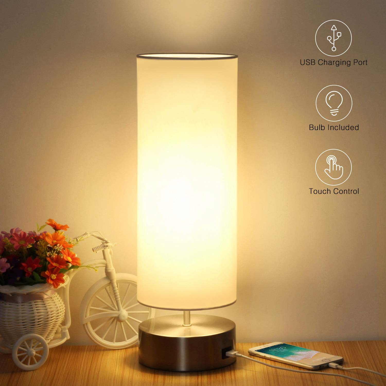 USB Table Lamp, Boncoo Touch Control Bedside Nightstand Lamp Quick USB Charging Port 3 Level Brightness Dimmable Modern Ambient Light with Round Lampshade for Bedroom Living Room, 6W LED Bulb Included