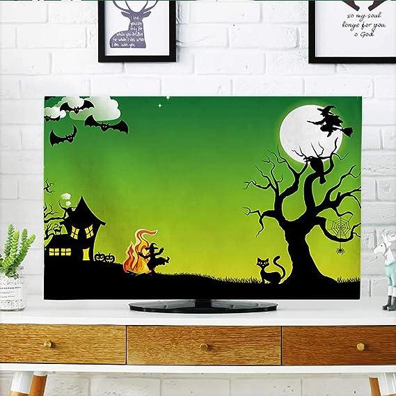 Auraisehome Protege tu TV Witch Bailando Alrededor del Fuego en Halloween Antiguo Terror Occidental ilustración Verde Negro Protege tu TV W19 x H30 Pulgadas/TV 32 Pulgadas: Amazon.es: Hogar
