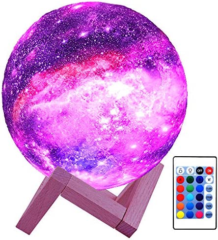HYODREAM 3-D Moon Lamp Kids Night Light Galaxy Lamp 16 Colors LED Light with Rechargeable Battery Touch & Remote Control as Birthday Gift for Boys/Girls/Baby