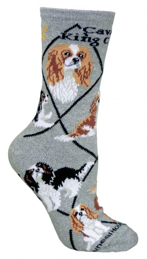 Wheel House Designs Cavalier King Charles Women's Argyle Socks (Shoe size 6-8.5) PH755