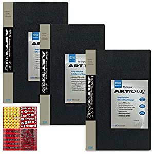 ITOYA Art Profolio The Original Presentation Books, 11 x 17 Inches, 24 Sheets for 48 Pictures (IA-12-12) + Scrapbooking Stickers 4 Pages of Emojis, Quotes, Letters & Numbers - Awesome Bundle