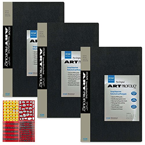 Profolio Art - ITOYA Art Profolio The Original Presentation Books, 11 x 17 Inches, 24 Sheets for 48 Pictures (IA-12-12) + Scrapbooking Stickers 4 Pages of Emojis, Quotes, Letters & Numbers - Awesome Bundle
