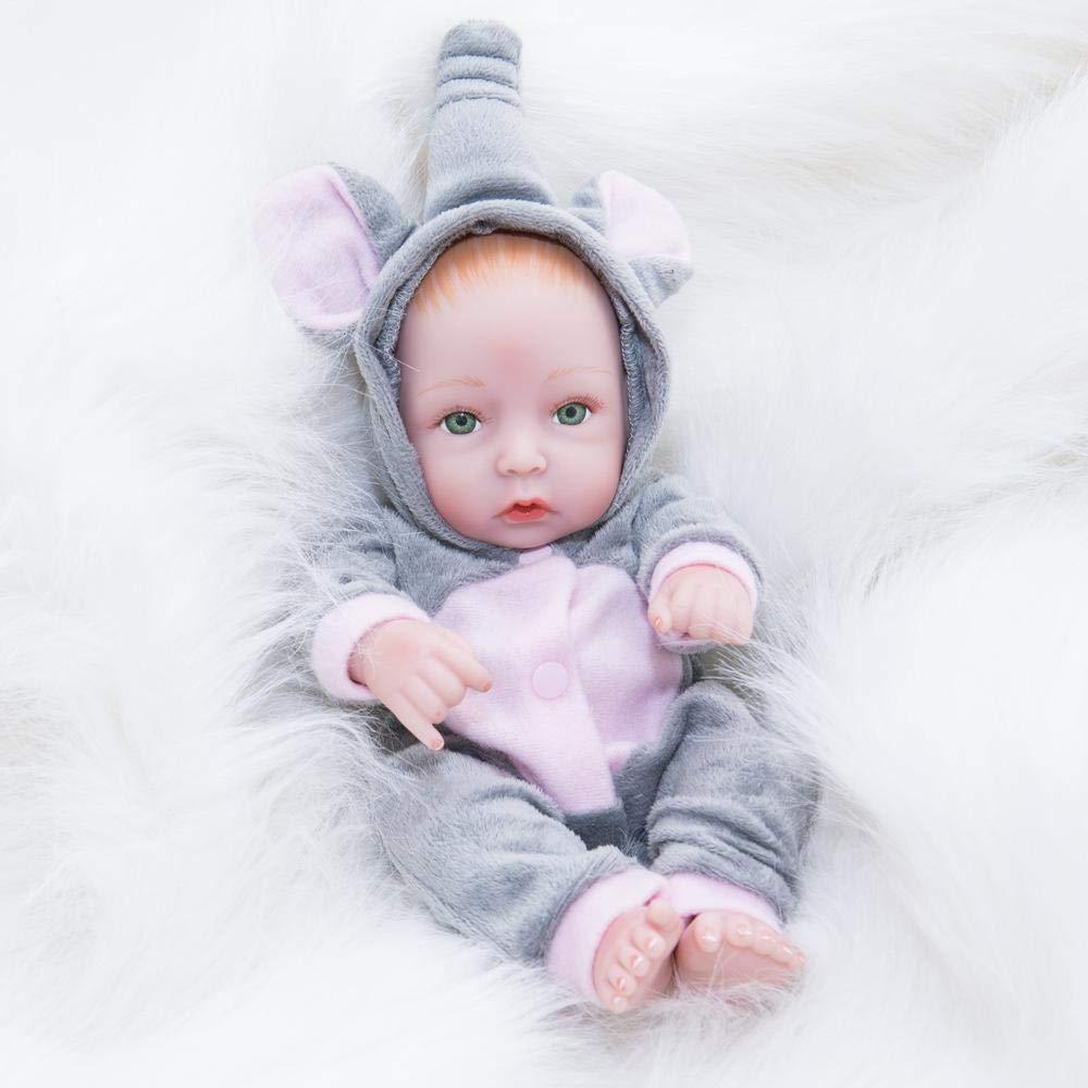 Hongge Reborn Baby Doll,Realistische Baby Baden kann volle Gel Silikon Puppe Kind Geburtstagsgeschenk 28 cm