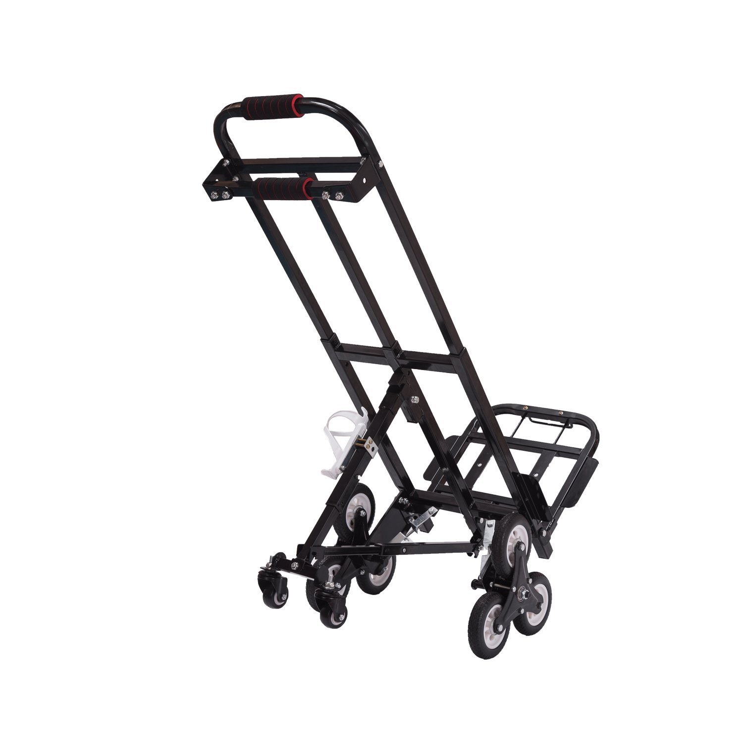 Mecete Enhanced Stair Climbing Cart Portable Climbing Cart 460lb Largest Capacity All Terrain Stair Climbing Hand Truck Heavy Duty with 6 wheels (Black) with Universal wheels Baking Varnish Shining