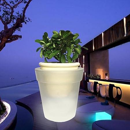 Woopower Macetero con luz LED, energía Solar, LED Blanco, Maceta para jardín, Patio, balcón, decoración: Amazon.es: Hogar