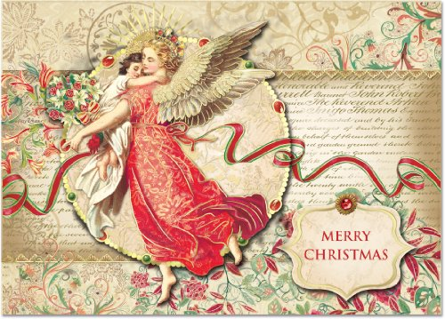 (Punch Studio Florentine Angel Dimensional Holiday Greeting Cards - Set of 12 (50336))